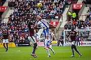 Kilmarnock FC Forward Kallum Higginbotham challenges the ball during the Ladbrokes Scottish Premiership match between Heart of Midlothian and Kilmarnock at Tynecastle Stadium, Gorgie, Scotland on 3 October 2015. Photo by Craig McAllister.