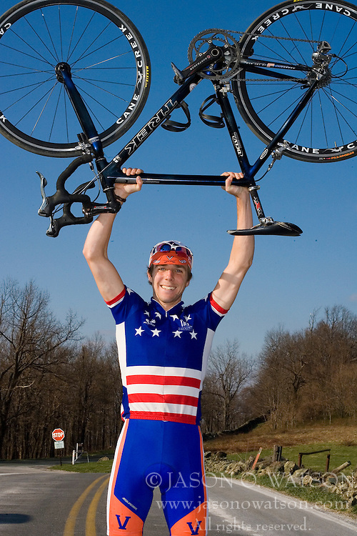 Virginia Cavaliers U.S. National Collegiate Champion Mark Hardman..Members of the University of Virginia Cycling Team met at Reeds Gap on the Blue Ridge Parkway in Virginia on April 9, 2007 for a team photo shoot.