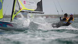2012 Olympic Games London / Weymouth<br /> 49er racing course<br /> Outteridge Nathan, Jensen Iain, (AUS, 49er)
