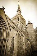 Abbey turret and bell tower, Mont Saint-Michel monastery, Normandy, France