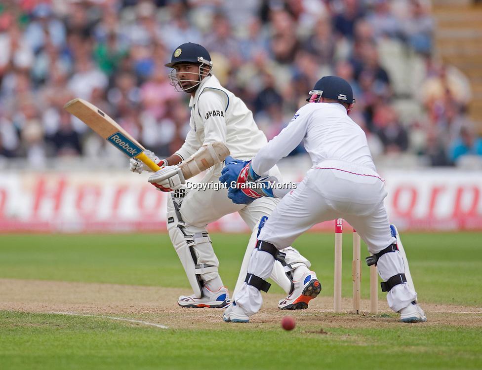 Praveen Kumar bats during the third npower Test Match between England and India at Edgbaston, Birmingham.  Photo: Graham Morris (Tel: +44(0)20 8969 4192 Email: sales@cricketpix.com) 13/08/11