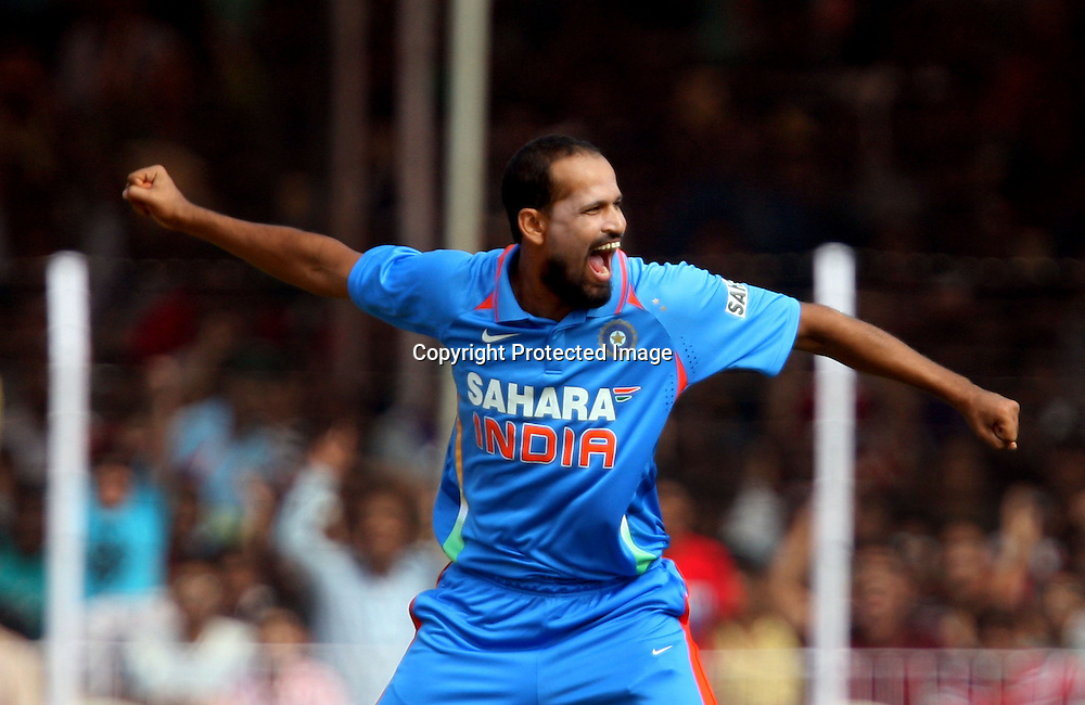Indian bowler Yusuf Pathan celebrates after taken New Zealand captain Daniel Vettori wicket during the India vs New Zealand Played at Reliance Stadium, Vadodara, 4 December 2010 (50-over match)