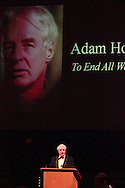 Non-fiction winner Adam Hochschild (To End All Wars) speaks during the 2012 Dayton Literary Peace Prize dinner and awards presentation at the Schuster Center in downtown Dayton, Sunday, November 11, 2012.