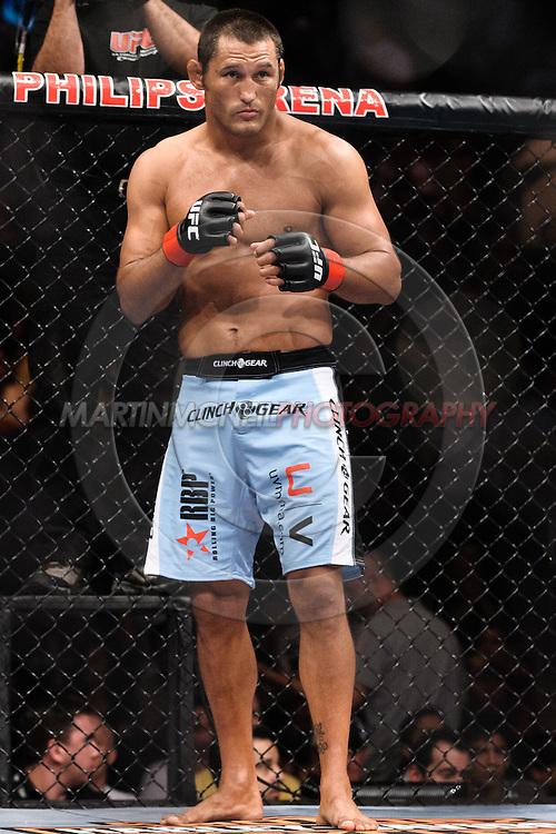 "ATLANTA, GEORGIA, SEPTEMBER 6, 2008: Dan Henderson stands ready to fight during ""UFC 88: Breakthrough"" inside Philips Arena in Atlanta, Georgia on September 6, 2008"