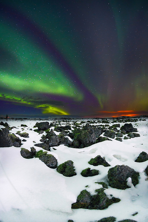 One of a series of landscape and travel photographs taken by Matthew Butterfield in Iceland. The Northern Lights.