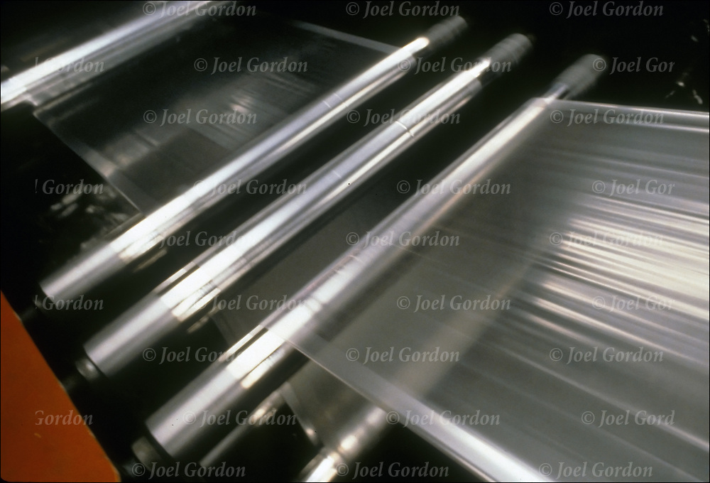 Plastic being manufactured in factory