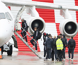 Jose Mourinho as the Manchester United team fly to Wales on Tuesday morning for their Carabao Cup match against Swansea City