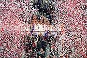 © Filippo Alfero<br /> Siviglia-Benfica, Finale Europa League 2013/2014<br /> Torino, 14/05/2014<br /> sport calcio<br /> Nella foto: i giocatori del Siviglia festeggiano alzando la coppa