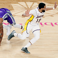 08 October 2017: Sacramento Kings guard George Hill (3) and Los Angeles Lakers guard Tyler Ennis (10) are seen during the LA Lakers 75-69 victory over the Sacramento Kings, at the T-Mobile Arena, Las Vegas, Nevada, USA.