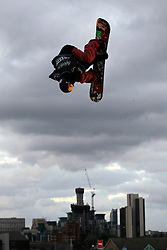 © Licensed to London News Pictures. 29/10/2011, London, UK.  Slovenia's Marko Grilc jumps during the final of FIS Snowboard World Cup Bir Air competition at the Freeze Snowboard and Ski Festival at Battersea Power Station in London, Saturday, Oct. 29, 2011. Photo credit : Sang Tan/LNP