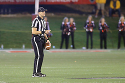 15 October 2016:  Umpire Adam McClurg. NCAA FCS Football game between Southern Illinois Salukis and Illinois State Redbirds at Hancock Stadium in Normal IL (Photo by Alan Look)