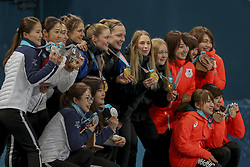 February 25, 2018 - Gangneung, GANGWON, SOUTH KOREA - Feb 25, 2018-Gangneung, South Korea-Sweden Olympic Curling Team, South Korea Olympic Curling Team, Japan Olympic Curling Team medal ceremony after match during an Olympic Couling Women's Gold Medal Game at Curling Center in Gangneung, South Korea. Match Won Sweden. Score by 8-3. (Credit Image: © Gmc via ZUMA Wire)