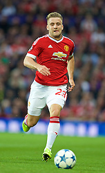 MANCHESTER, ENGLAND - Tuesday, August 18, 2015: Manchester United's Luke Shaw in action against Club Brugge during the UEFA Champions League Play-Off Round 1st Leg match at Old Trafford. (Pic by David Rawcliffe/Propaganda)