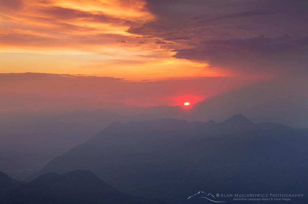 Clearing summer storm at sunset North Cascades Washington