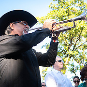 MIAMI, FLORIDA, APRIL 17, 2018<br /> A man plays taps facing for the fallen members of the 2506 Brigade during the commemoration of  the 57th anniversary of the failed assault on Bay of Pigs  at their memorial in Little Havana.<br /> (Photo by Angel Valentin/Freelance)