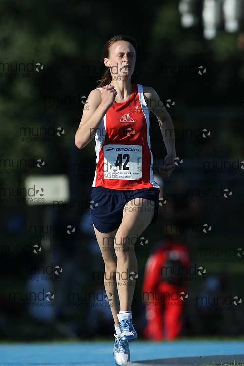 (Ottawa, Ontario---14 August 2008)  Caroline O'Leary of Newfoundland & Labrador competing in the women's 1500m at the 2008 Ontario Summer Games and Ontario v. Quebec v. Atlantic Canada Espoire Meet. Photo copyright Sean Burges/Mundo Sport Images. More details can be found at www.msievents.com.