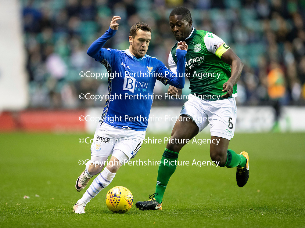 Hibs v St Johnstone…03.11.18…   Easter Road    SPFL<br />Danny Swanson battles with Marvin Bartley<br />Picture by Graeme Hart. <br />Copyright Perthshire Picture Agency<br />Tel: 01738 623350  Mobile: 07990 594431