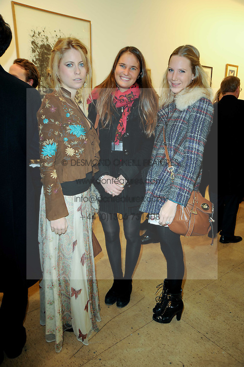 Left to right, VIOLET HENDERSON, VICTORIA VON WESTENHOLZ and ALICE DAWSON at a Pop Up exhibition of Fine Art held at the Broadbent Gallery, 25 Chepstow Corner, Chepstow Place, London W2 on 7th December 2010.