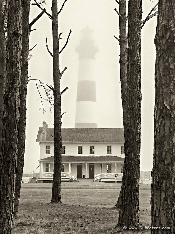 Bodie Island Lighthouse in the fog.