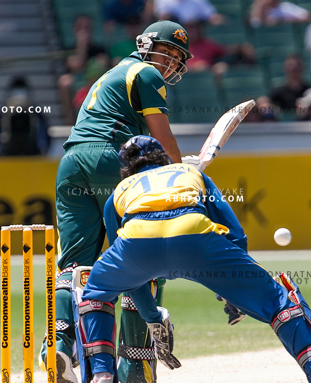 Usman Khawaja batting during game 1 of the Commonwealth Bank Series Australia v Sri Lanka played at the Melbourne Cricket Ground in Melbourne,Victoria, Australia. Photo Asanka Brendon Ratnayake