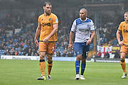 Bury Forward, James Vaughan (12) and Port Vale Defender, Kjell Knops (5) during the EFL Sky Bet League 1 match between Bury and Port Vale at the JD Stadium, Bury, England on 3 September 2016. Photo by Mark Pollitt.