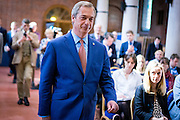 UNITED KINGDOM, London: 4 July 2016 Leader of UKIP Nigel Farage announces that he will step down as leader of the party in central London. Farage steps down because he has achieved what he set out to do with UKIP by becoming a independent United Kingdom. Pic by Andrew Cowie / Story Picture Agency