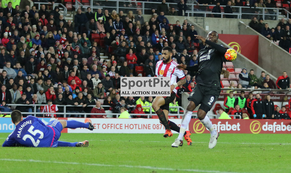 Christian Benteke misses a good chance near the end of the Sunderland FC v Liverpool FC English Premier League 30th March 2015...©Edward Linton | SportPix.org.uk