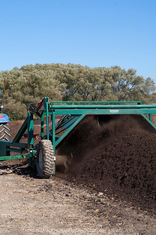 A livestock farmer turns his animal's manure into high quality compost.
