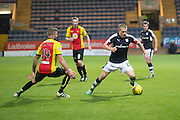 Dundee&rsquo;s Henrik Ojamaa and Partick Thistle's Christie Elliot  - Dundee v Partick Thistle in the Ladbrokes Scottish Premiership at Dens Park, Dundee.Photo: David Young<br /> <br />  - &copy; David Young - www.davidyoungphoto.co.uk - email: davidyoungphoto@gmail.com