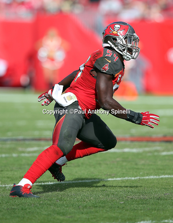 Tampa Bay Buccaneers outside linebacker Lavonte David (54) chases the action during the 2015 week 14 regular season NFL football game against the New Orleans Saints on Sunday, Dec. 13, 2015 in Tampa, Fla. The Saints won the game 24-17. (©Paul Anthony Spinelli)