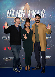 (left to right) Jason Isaacs, Sonequa Martin-Green, and Shazad Latif attend the Star Trek: Discovery special fan screening photocall at Millbank Tower on Sunday, 5th November..Picture dated: Sunday November 5, 2017. Photo credit should read: Isabel Infantes / EMPICS Entertainment.