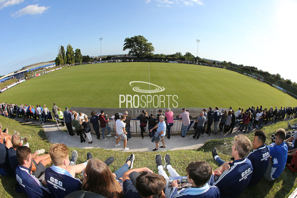 A capacity crowd of 972 at the Robert Eaton Memorial Ground during the FA Vase 1st Qualifying Round match between Worthing United and East Preston FC at the Robert Eaton Memorial Ground, Worthing, United Kingdom on 6 September 2015. The first home match for Worthing United since losing team mates Matthew Grimstone and Jacob Schilt in the Shoreham air show disaster.