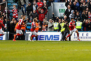 Charlton Athletic forward Nicky Ajose (10) celebrates his goal during the EFL Sky Bet League 1 match between Gillingham and Charlton Athletic at the MEMS Priestfield Stadium, Gillingham, England on 22 October 2016. Photo by Andy Walter.