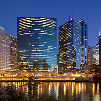 Chicago Stock Photography, Chicago City view from Wolf Point  with Wacker Drive, Chicago River dusk skyline city view at night by Photographer Wayne Cable