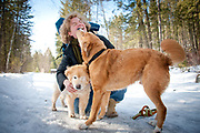 Portrait session with Nicole Tavenner and her dogs Seymour and Simon and daughter Zoe