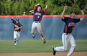 Milton outfielder Erik Petersen, left, records the final out of their 2-1 win over Roswell as teammates Ryan Gridley (2) and Dylan Cease celebrate their GHSA AAAAAA State Baseball Championship, Monday, May 27, 2013, in Milton, Ga.   David Tulis/dtulis@gmail.com