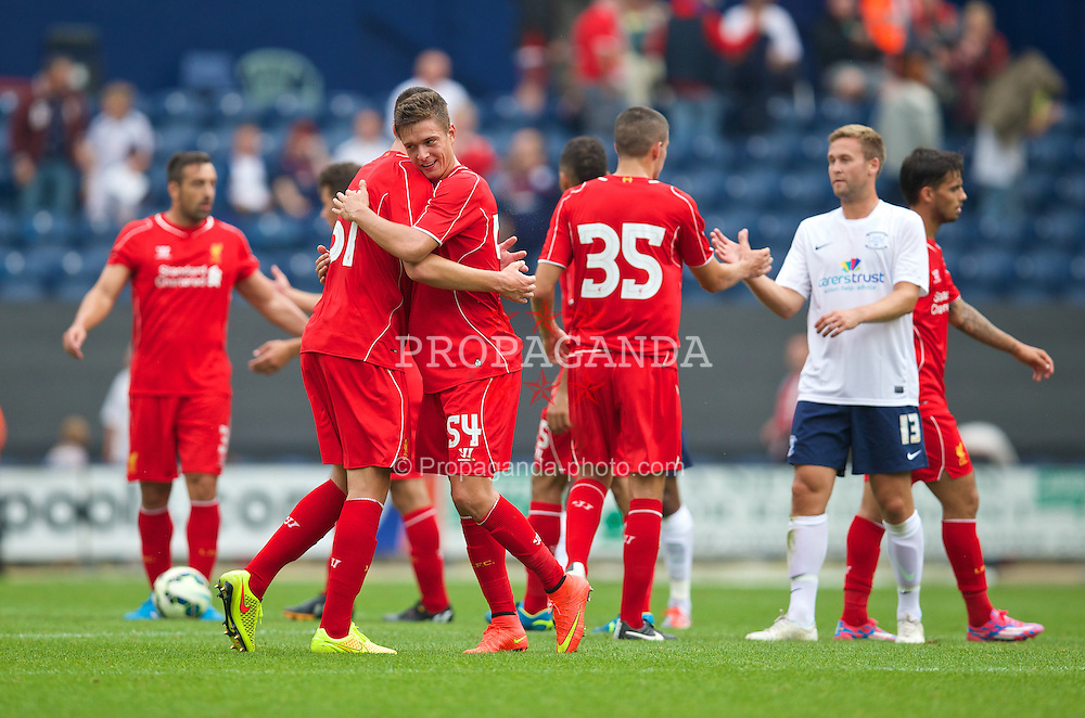 PRESTON, ENGLAND - Saturday, July 19, 2014: Liverpool's match-winning goalscorer Kristoffer Pieterson celebrates after a preseason friendly match against Preston North End at Deepdale Stadium. (Pic by David Rawcliffe/Propaganda)
