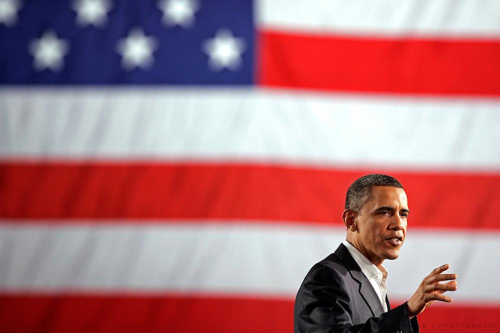 SCOTT MORGAN   ROCKFORD REGISTER STAR.President Barack Obama speaks Wednesday, April 28, 2010, during the White House to Main Street tour stop at the Oakley-Lindsay Center in Quincy, Ill.