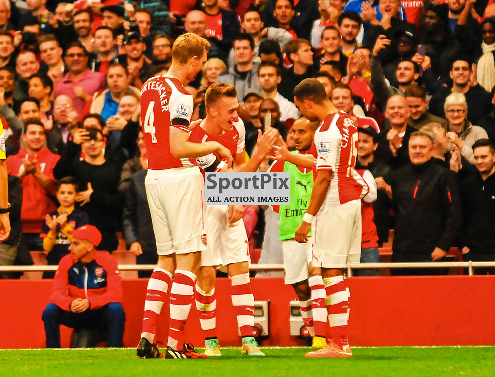 (c) Andrea Putzolu | SPORTPIX.ORG.UK<br /> 21 Defender Calum Chambers celebrating while he just obtain a second score of Arsenal.