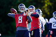 Tennessee Titans quarter back Marcus Mariota (8) and Blaine Gabbert (7) practice during the Tennessee Titans pre-match press conference at Syon House, Brentford, United Kingdom on 19 October 2018.