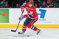 KELOWNA, CANADA - MARCH 5: Reid Gow #18 of the Spokane Chiefs misses a shot on net against the Kelowna Rockets on March 5, 2014 at Prospera Place in Kelowna, British Columbia, Canada.   (Photo by Marissa Baecker/Getty Images)  *** Local Caption *** Reid Gow;