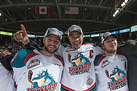 KELOWNA, CANADA - MAY 13: Josh Morrissey #27, Madison Bowey #4 and Tyson Baillie #24 of Kelowna Rockets celebrate the WHL Championship win against the Brandon Wheat Kings on May 13, 2015 during game 4 of the WHL final series at Prospera Place in Kelowna, British Columbia, Canada.  (Photo by Marissa Baecker/Shoot the Breeze)  *** Local Caption *** Josh Morrissey; Tyson Baillie; Madison Bowey;