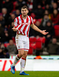 STOKE-ON-TRENT, ENGLAND - Saturday, January 25, 2020: Stoke City's Sam Volkes complains to the referee during the Football League Championship match between Stoke City FC and Swansea City FC at the Britannia Stadium. (Pic by David Rawcliffe/Propaganda)
