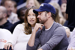 61092172<br /> Olivia Wilde and Jason Sudeikis are seen courtside at the Staples Center, Los Angeles, USA, during a Los Angeles Clippers game, Tuesday, 18th February 2014. Picture by  imago / i-Images<br /> UK ONLY