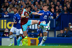 LIVERPOOL, ENGLAND - Saturday, April 15, 2017: Everton's Ross Barkley in action against Burnley's Joey Barton during the FA Premier League match at Goodison Park. (Pic by David Rawcliffe/Propaganda)