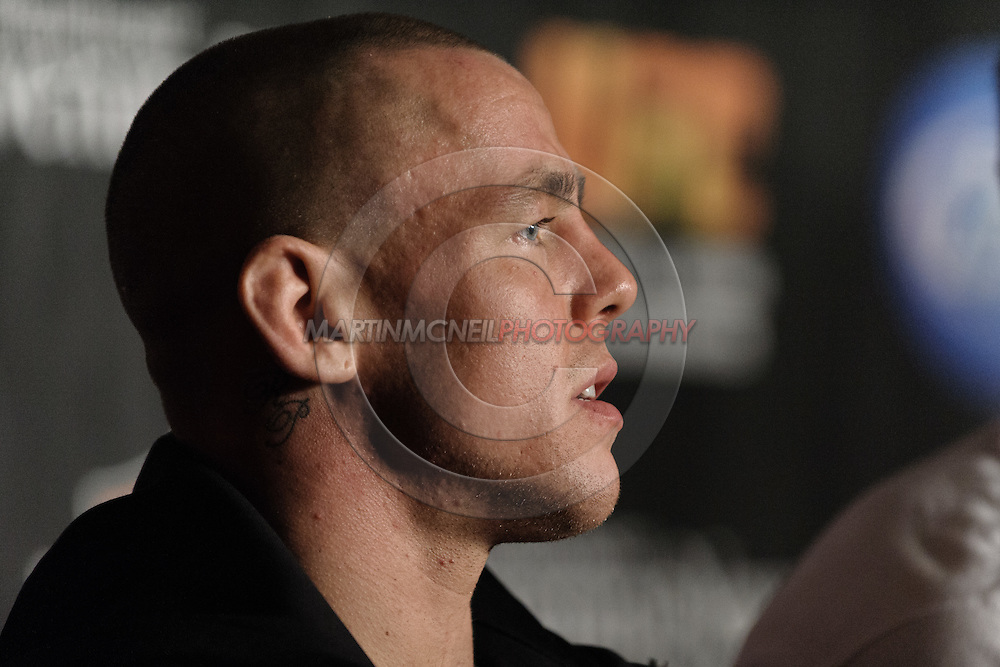 """MANCHESTER, ENGLAND, NOVEMBER 14, 2009: Ross Pearson is pictured during the post-fight press conference for """"UFC 105: Couture vs. Vera"""" inside the MEN Arena in Manchester, England"""
