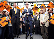 © Licensed to London News Pictures. 01/03/2013. Eastleigh, UK Liberal Democrat leader and Deputy Prime Minister Nick Clegg (right) meets with Mike Thornton MP the morning after his by-election victory. Campaigning in the weeks ahead of The Liberal Democrats winning the Eastleigh by-election, with the UK Independence Party pushing the Conservatives into third place.. Photo credit : Stephen Simpson/LNP