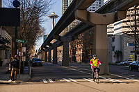 5th Avenue and the Monorail were both devoid of vehicles, but offered plenty of space for cyclists and pedestrians alike. 5th Avenue is typically one of the busiest and most congested streets in Downtown Seattle. (March 21, 2020).