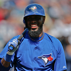 Feb 28, 2013; Tampa, FL, USA; Toronto Blue Jays shortstop Jose Reyes (7) waits to bat against the New York Yankees during the top of the first inning of a spring training game at George Steinbrenner Field. Mandatory Credit: Derick E. Hingle-USA TODAY Sports