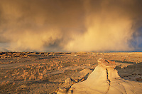 Sunset storm over Bisti Badlands, Bisti/De-Na-Zin Wilderness, New Mexico